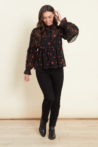 Black With Red Star Ruffle Detail Blouse