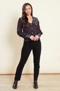 Black Contrast Collar Floral Print Shirt