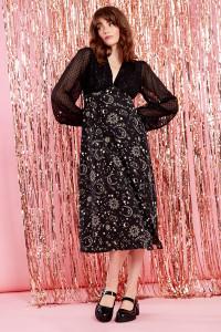 Stevie Constellation Midi Dress - Black