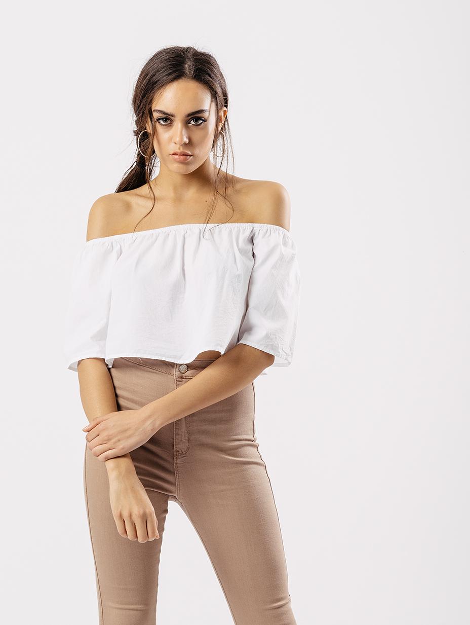 9afea1e293df8 White Bardot Short Flare Sleeve Crop Top - Influence Fashion