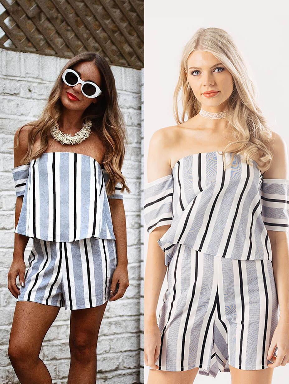 10cbdcfdeefc Blue Stripe Layered Bardot Playsuit l Influence Wholesale SS17