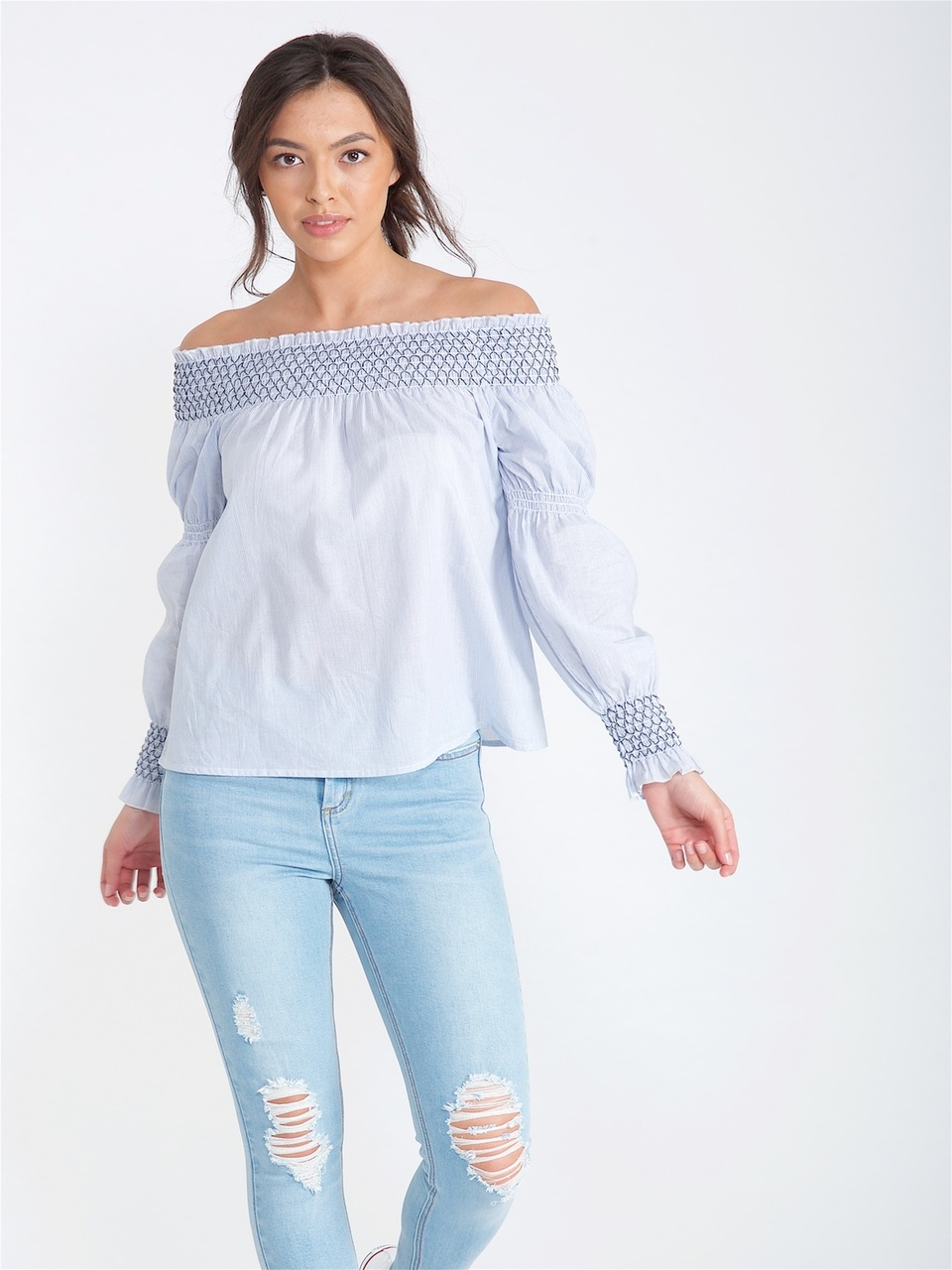 902e139577df7 Blue Stripe Contrast Stitch Bardot Top l Influence Fashion New In SS 18