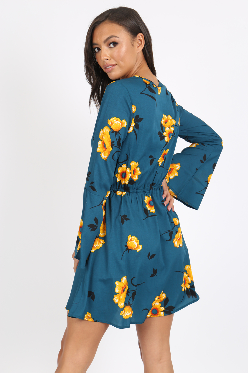 f869136720 Green Floral Flute Sleeve Skater Dress l Influence Fashion New ...
