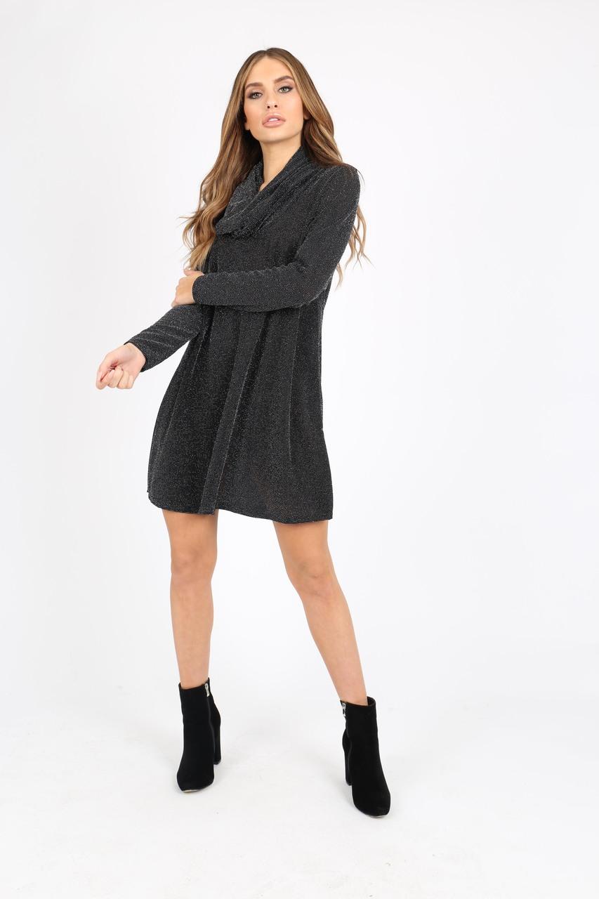 d3b40710a54e BLACK SILVER GLITTER COWL NECK LONG SLEEVE SWING DRESS l Influence ...