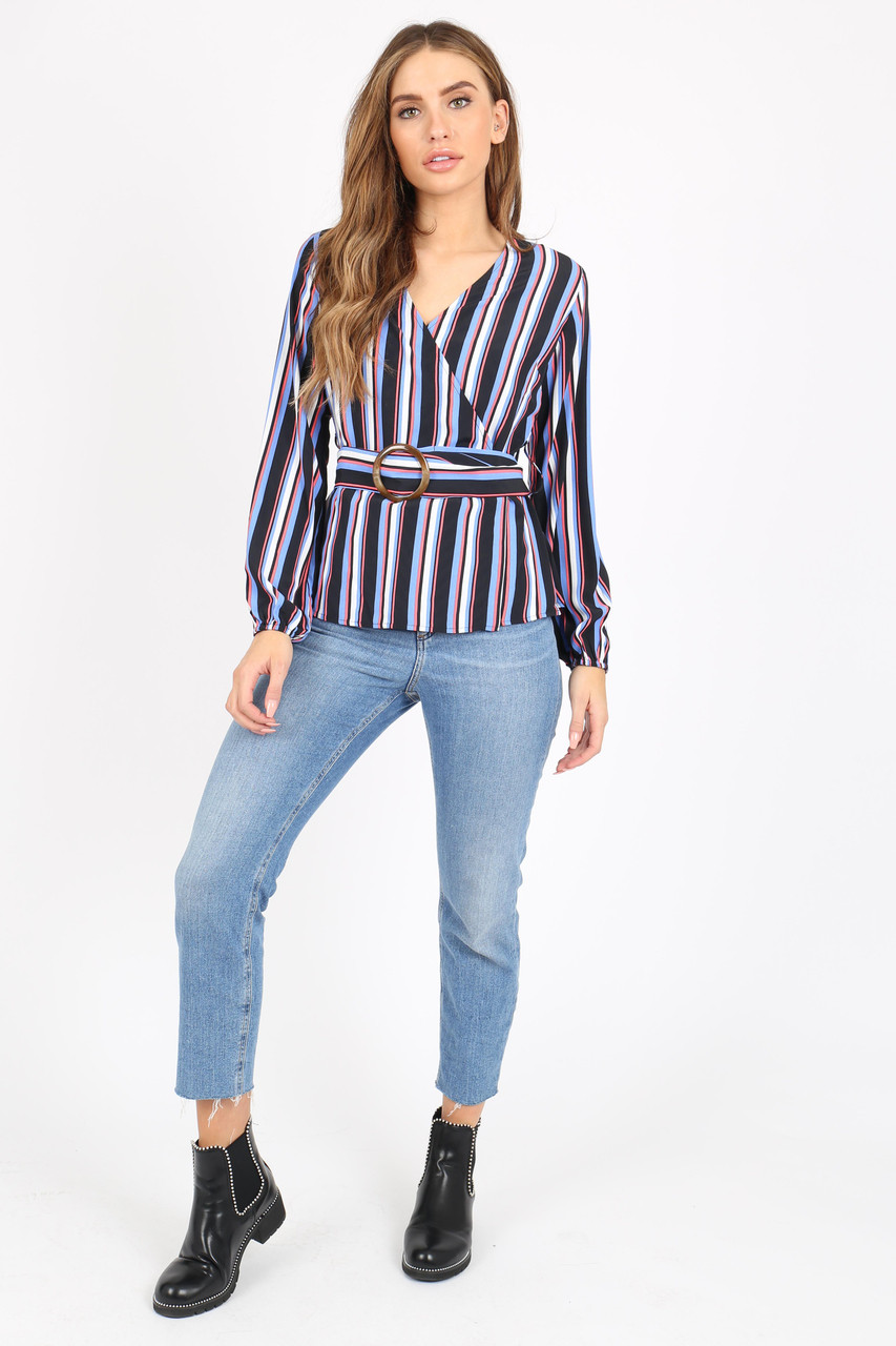 64ea560909 Multi Stripe Wrap Top With Belt Detail And Long Sleeves