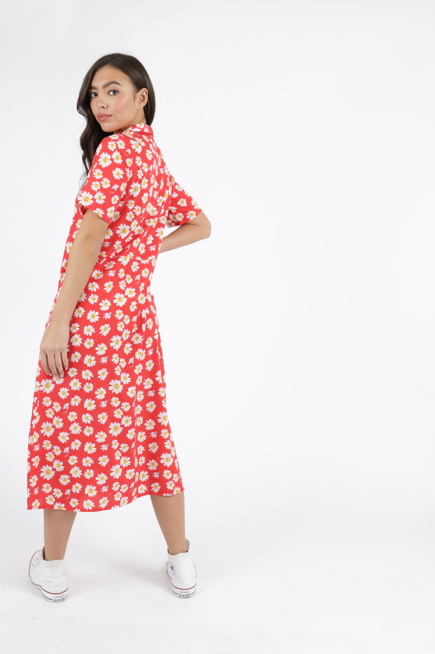 7bc87611567 Red Ditsy Floral Short Sleeve Midi Dress l Influence Fashion New ...