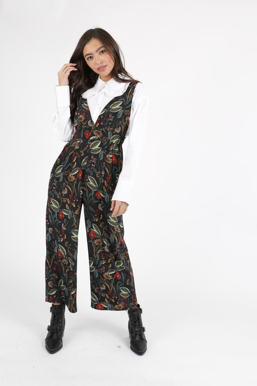 9f5c9fa0e48 Black Botanical Floral Pinafore Jumpsuit ...