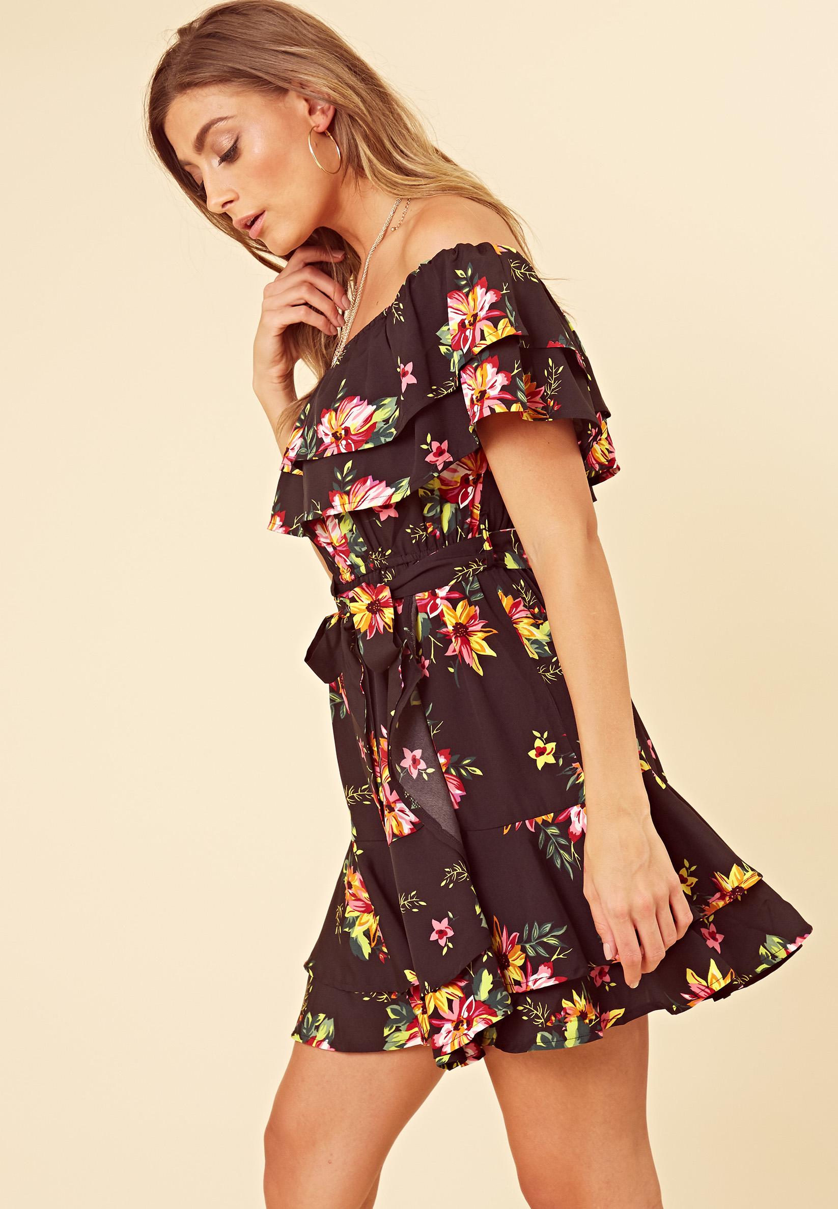 8475c2eb6 Black Floral Bardot Frill Hem Skater Dress l Influence Fashion ...