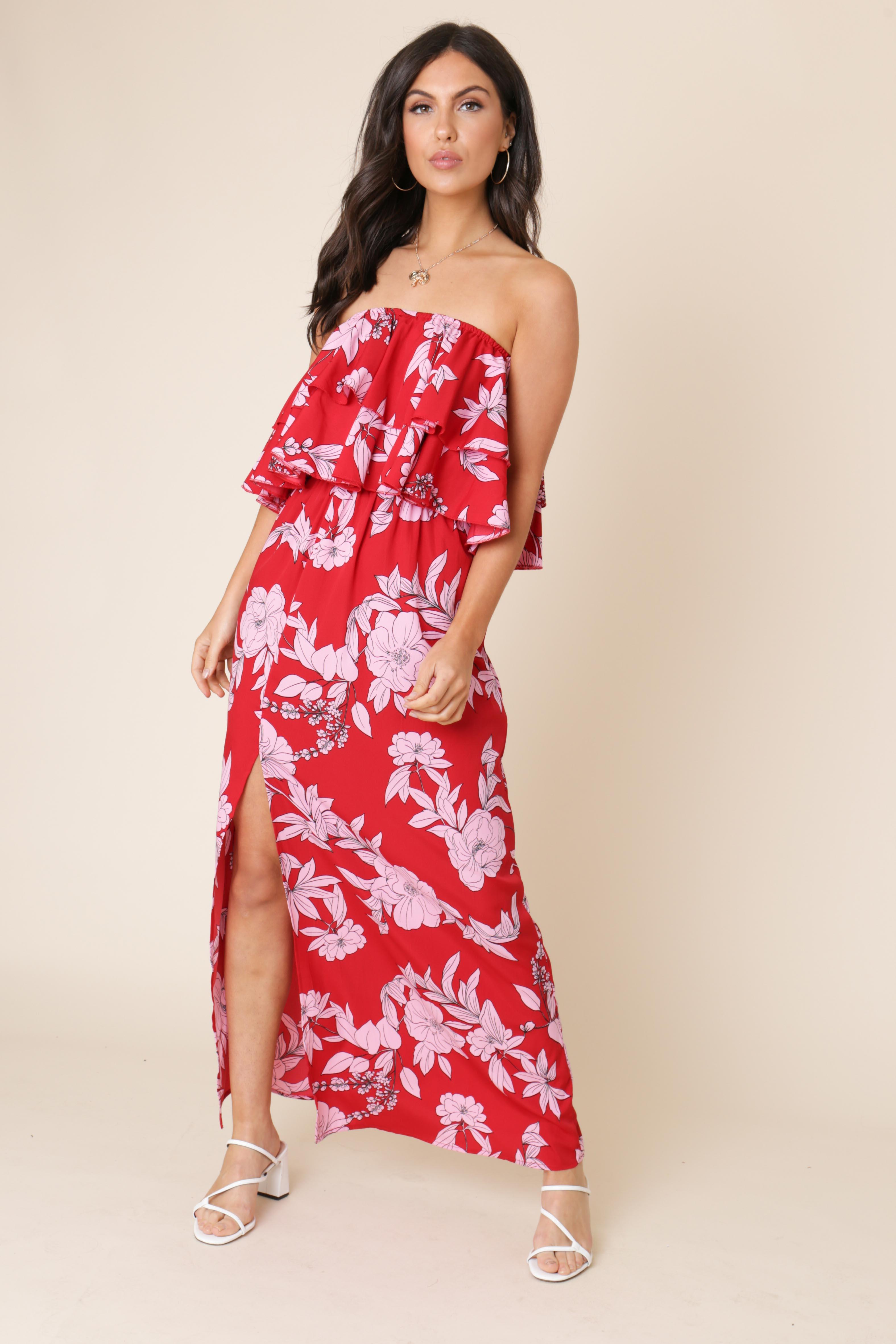 9e1c917d9ea Red Floral Print Double Layer Bandeau Maxi Dress