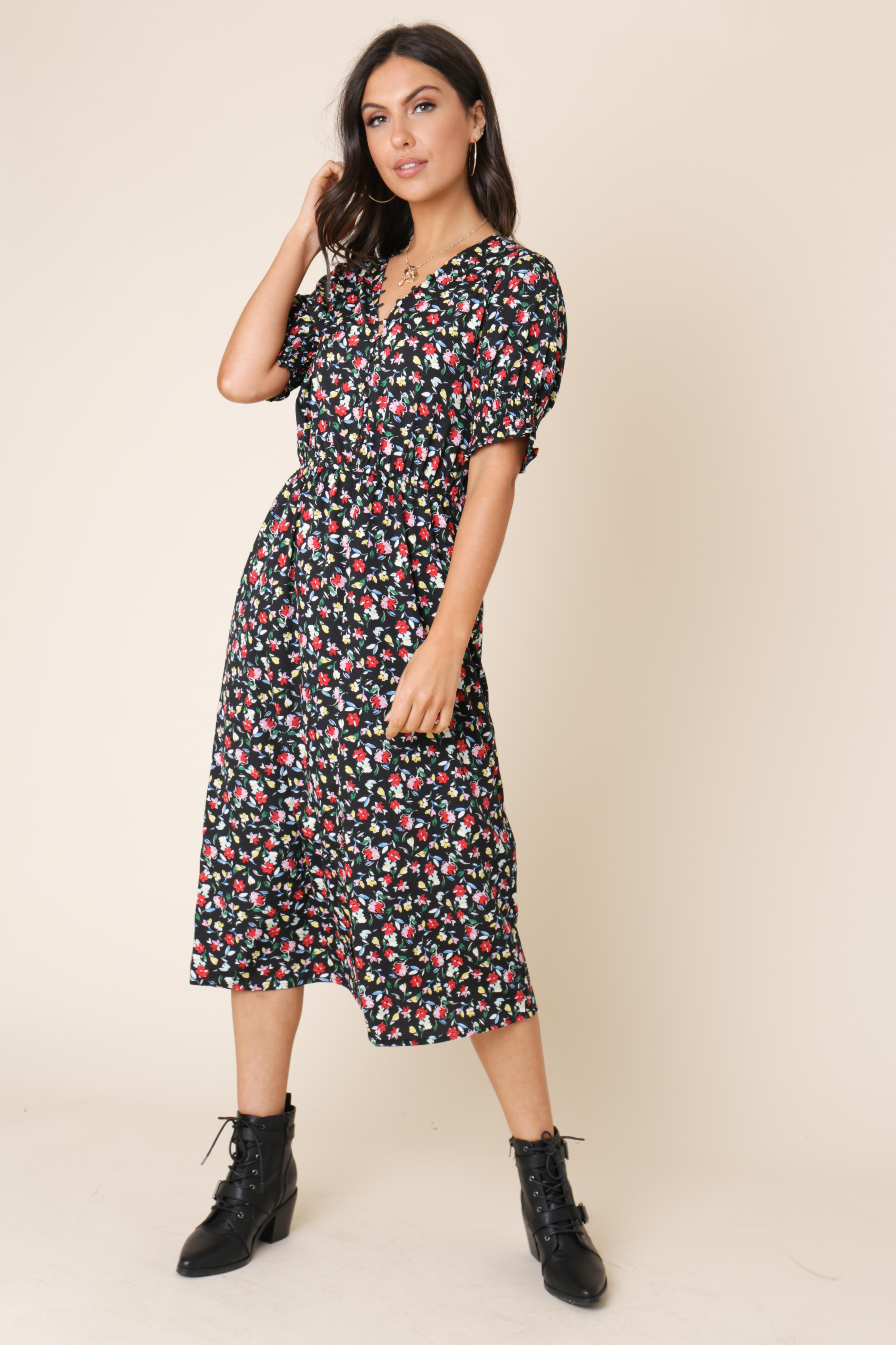 afa8027ee80c Black Ditsy Floral Button Down Midi Dress l Influence Fashion Wholesale New  Season SS19