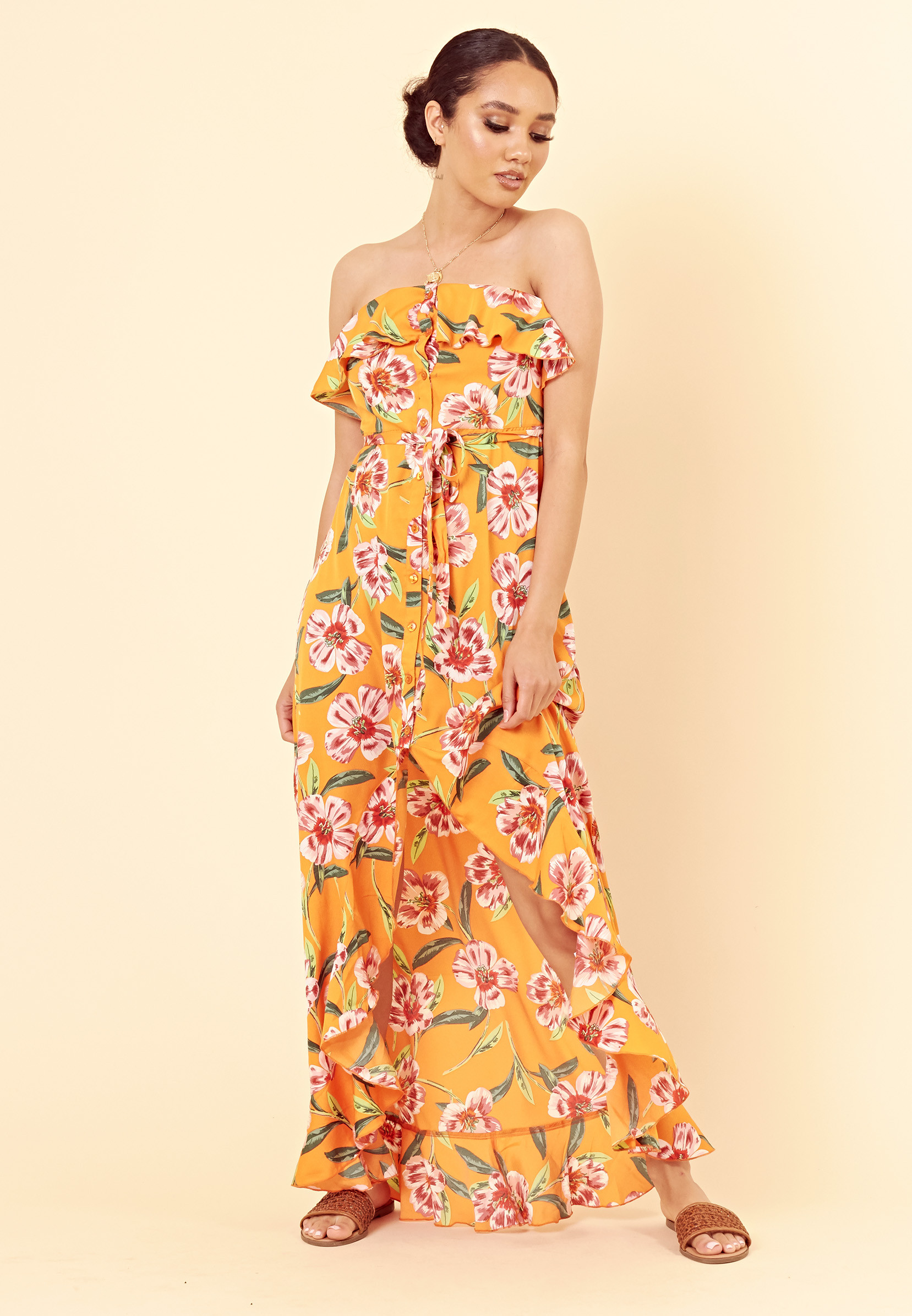 dcf57787e Orange Floral Bardot Bandeau Button Down Maxi Dress with Frill l Influence  Fashion Wholesale New Season SS19