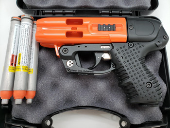 JPX 4 Shot Compact 2 Pepper Gun Orange with Laser and Paddle Holster