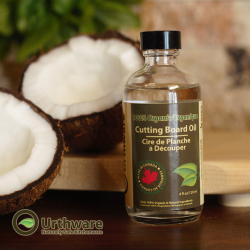 Urthware 100 % Organic Cutting Board Oil for use on butcher blocks, as well as bamboo and wooden cutting boards