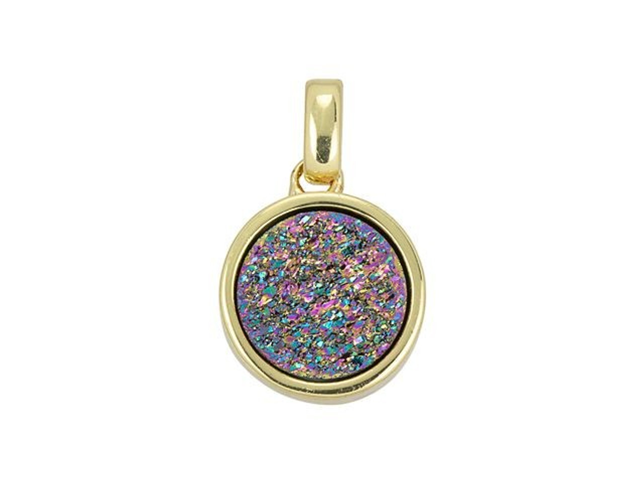 Silver Healing crystal stone Horn Pendant Necklace Charm Jewelry Rainbow Titanium Druzy Crescent Moon Horn Charm Pendant with Gold Bails