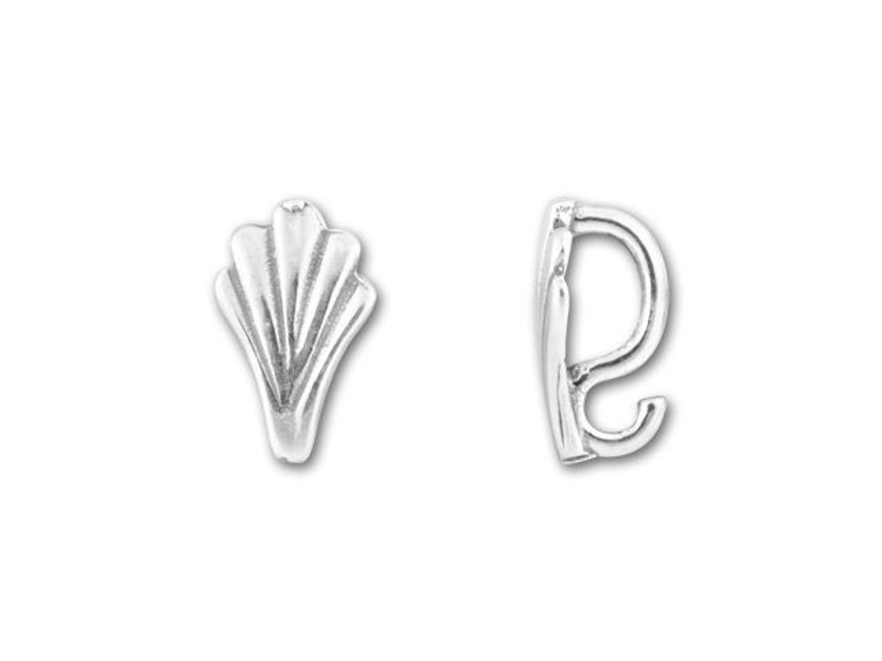 Sterling Silver 925  Grooved Pendant  Bail with Open Jump Ring  Jewellery Making