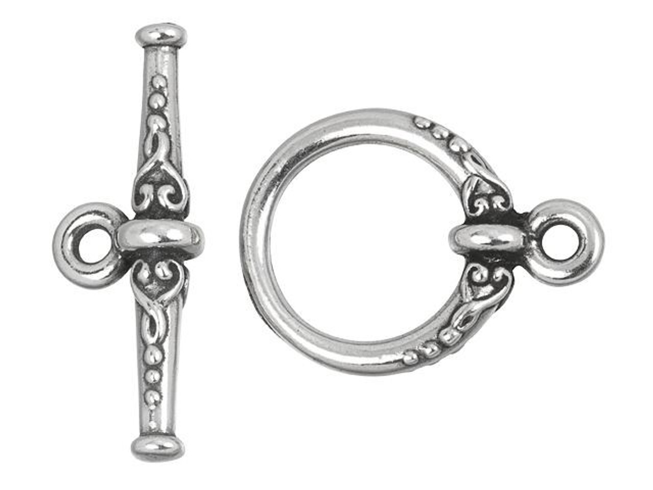 10 Sets #CK532 17mm Antique Silver TierraCast Pewter Bali Toggle Clasp