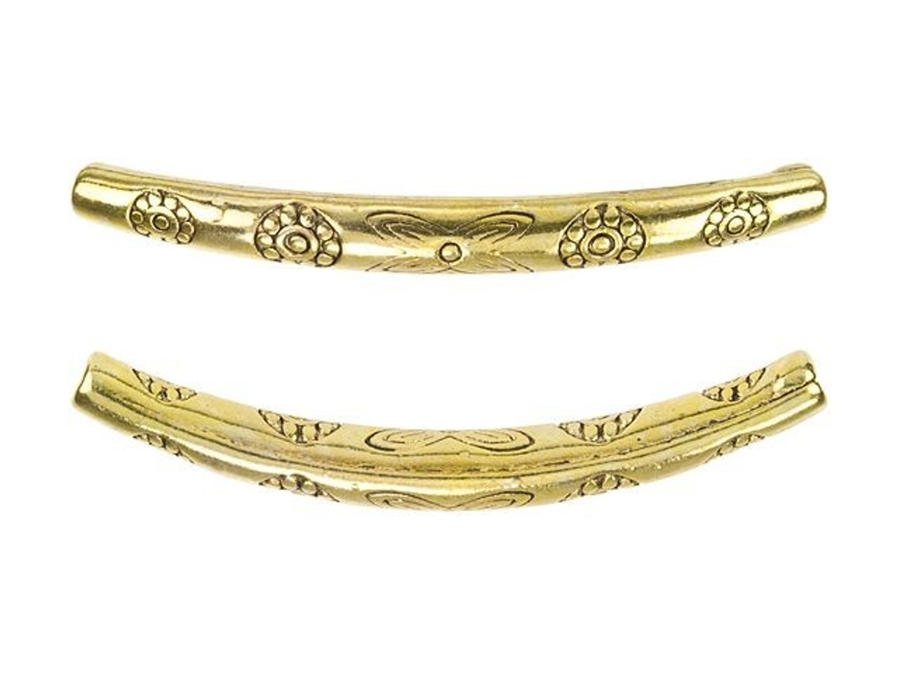 80pcs gold-tone flower pattern curved tube h0674