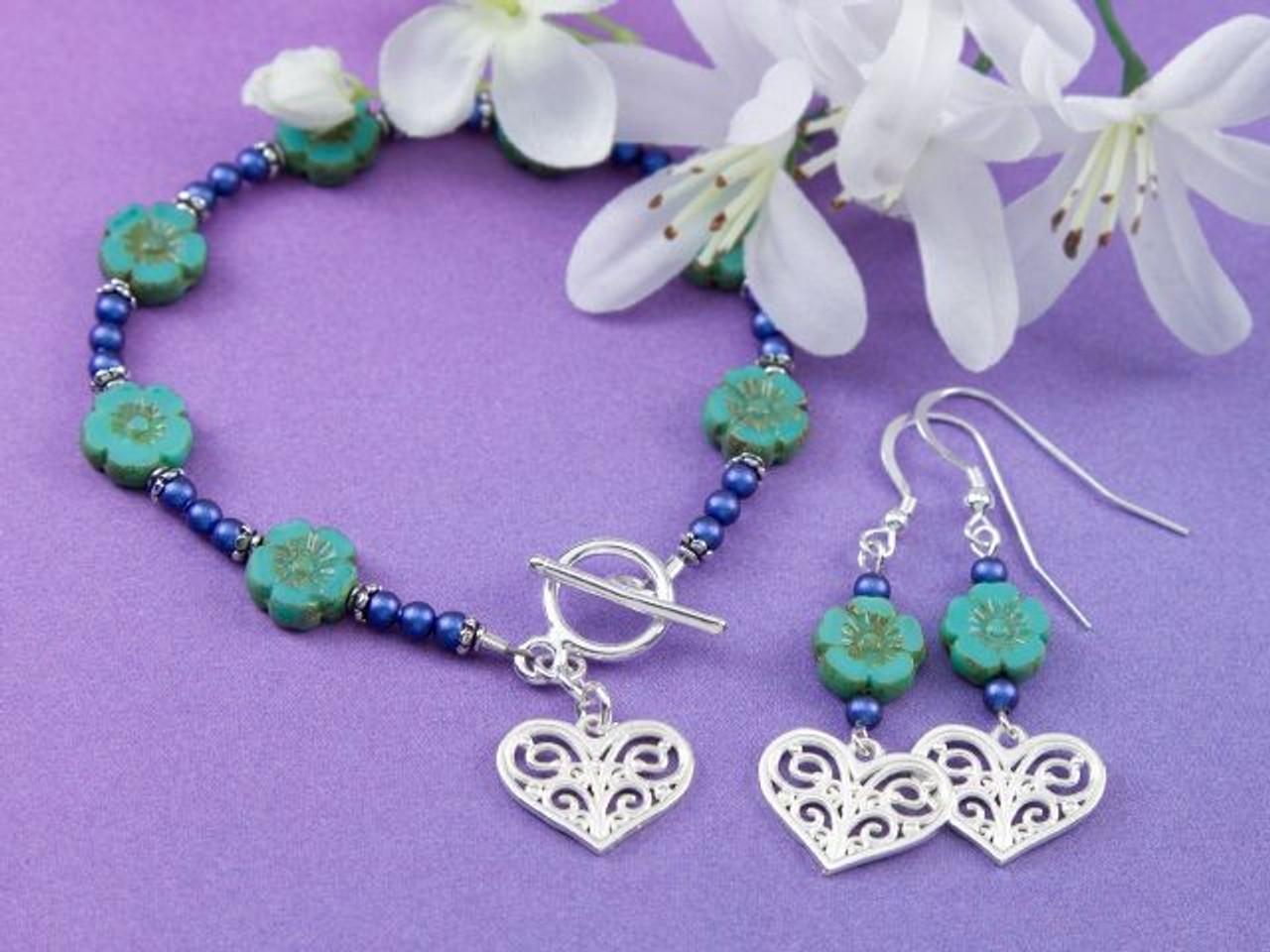 GiftJewelryShop Blue Christmas Snowflake Blue Zircon Crystal December Birthstone Flower Dangle Charm Bracelets