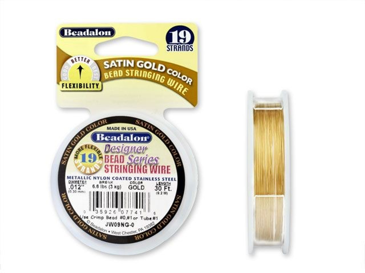 .018 Inch BDC-719.18 19 Strand 30 Feet Griffin Jewelry Beading Wire