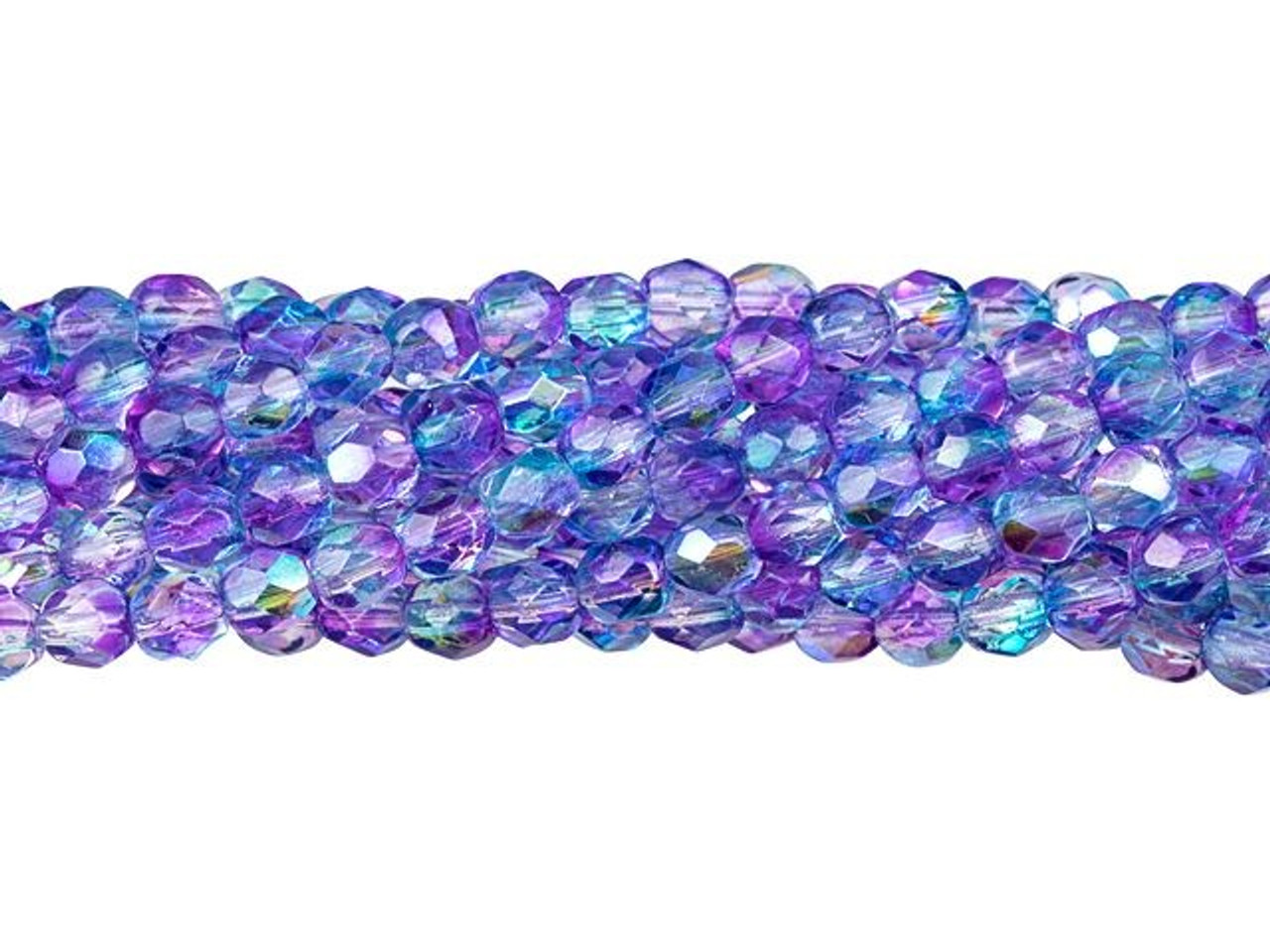 50 4mm Round Faceted Fire Polish Czech Glass Beads Dark Aqua Blue Vitral