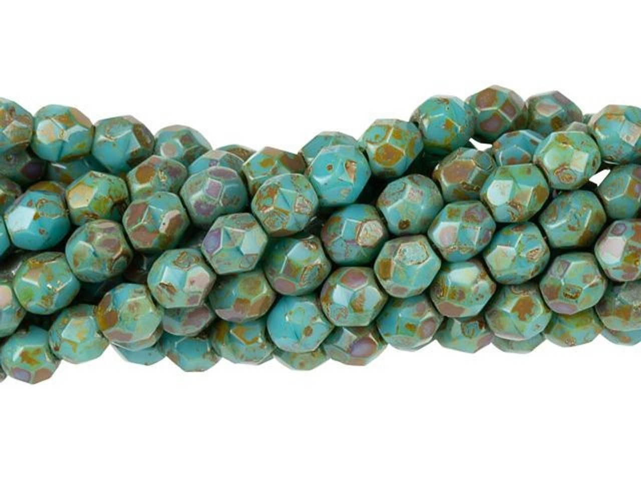 Czech Glass Faceted Beads 4 mm 50 beads New CRYSTAL PICASSO ROUNDS