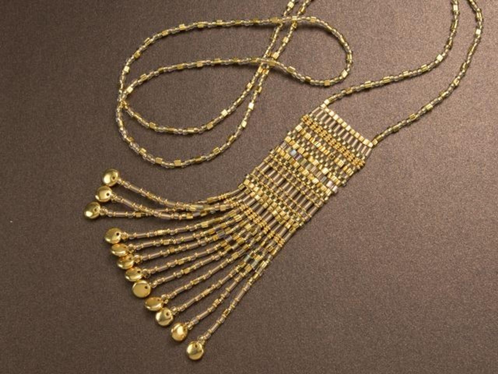 blue stitch necklace seed bead jewelry Toho glass bead necklace red beaded necklace Blue seed bead necklace blue beaded necklace