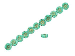 Czech Glass Cup Flower Beads 7x5mm 25 Pieces Small 7mm Bell Flowers Aztec Matte Gold