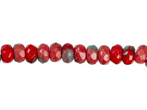 faceted CZECH diamond shape 6 VINTAGE beads red connector beads sewing cabochon