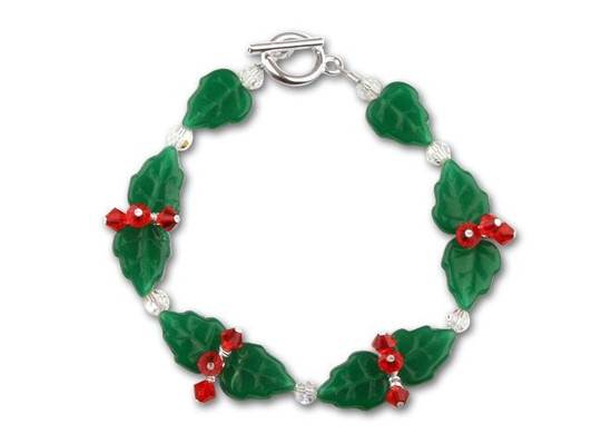 Gold /& Green Holly Berry Red Glass Bead Mix // Bracelet Making Kit
