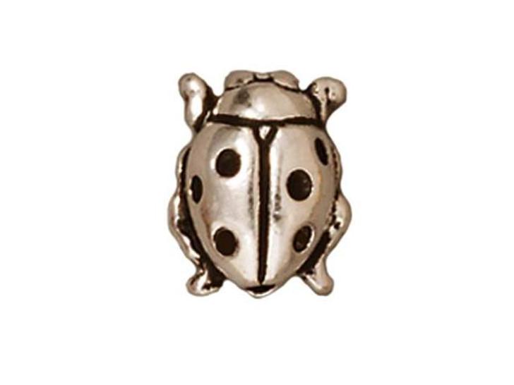 TierraCast Silver Antique Ladybug Bead