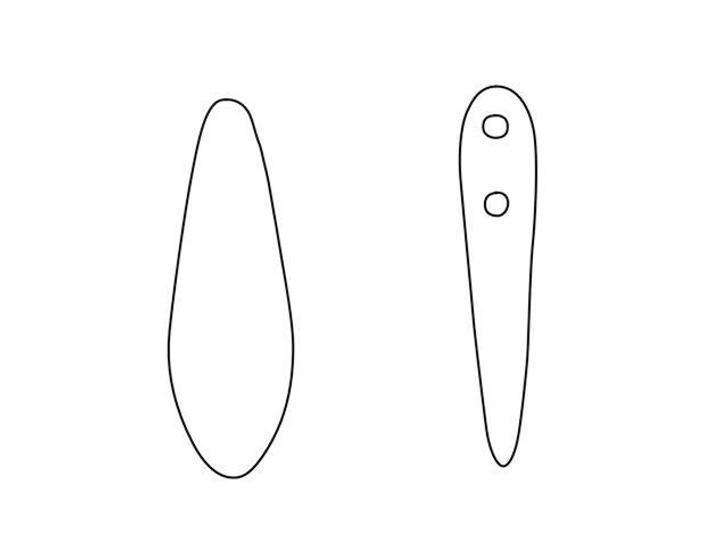 CzechMates Glass 5-6mm Matte Chocolate Brown Bronze Vega Two-Hole Dagger Bead (50pc Strand)