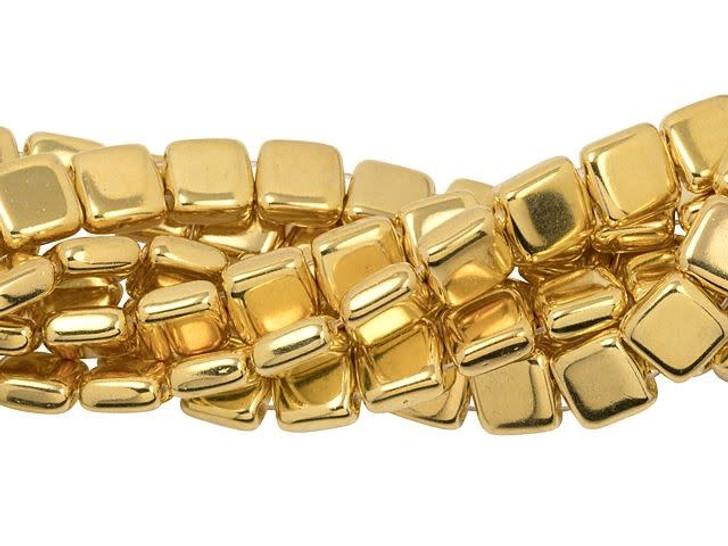 25 pc Matte Apollo Gold CzechMates Czech Glass Bead 6mm Two Hole Tile