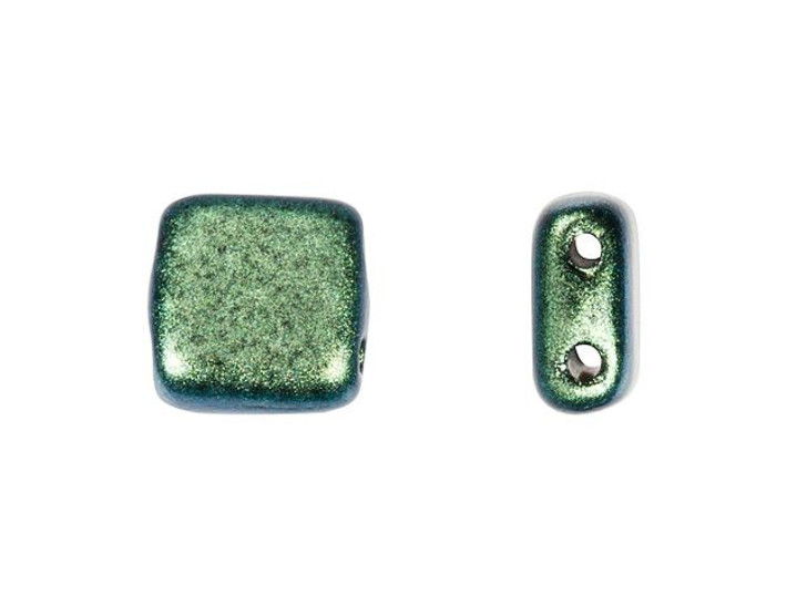CzechMates Glass 6mm Aqua Teal Polychrome Two-Hole Tile Bead