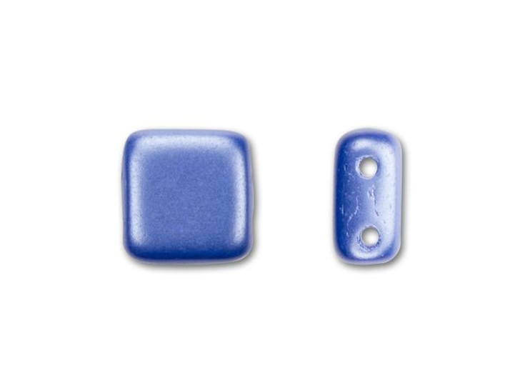 CzechMates Glass 6mm Baby Blue Pearl Coated Two-Hole Tile Bead