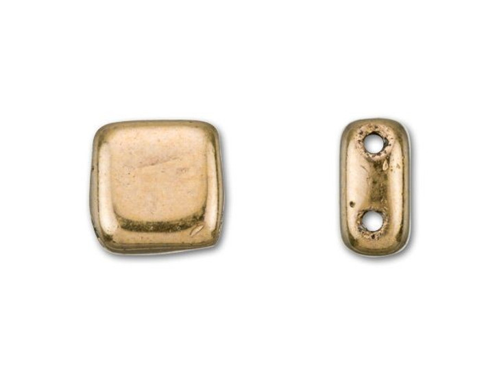 CzechMates Glass 6mm Bronze Two-Hole Tile Bead