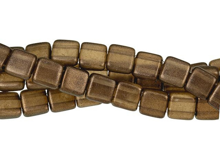 CzechMates Glass 6mm Burnt Umber Two-Hole Tile Bead Strand Halo