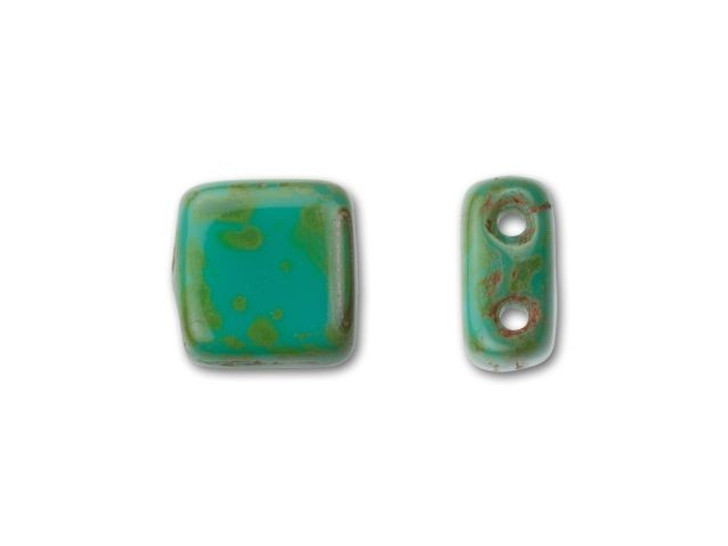 CzechMates Glass 6mm Celsian Persian Turquoise with Picasso Two-Hole Tile Bead