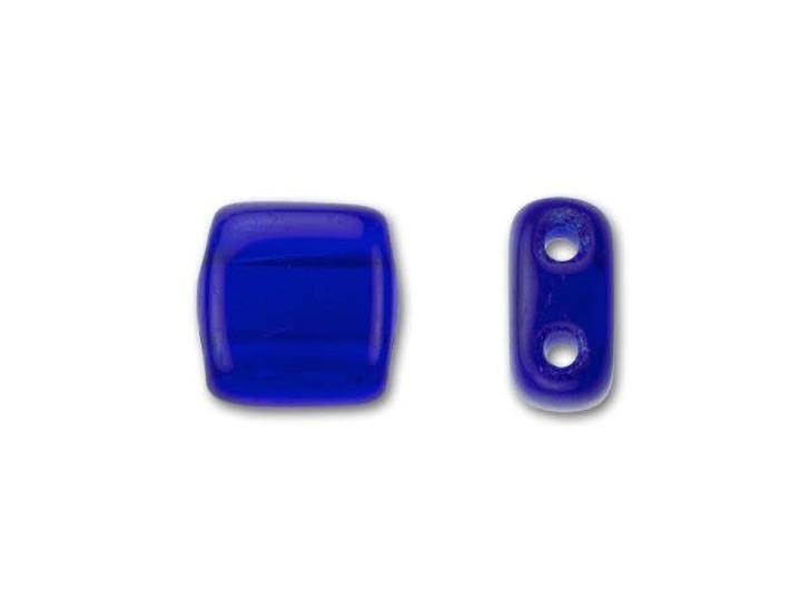 CzechMates Glass 6mm Cobalt Two-Hole Tile Bead