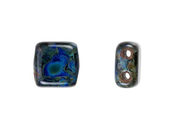 CzechMates Glass 6mm Cobalt with Picasso Two-Hole Tile Bead