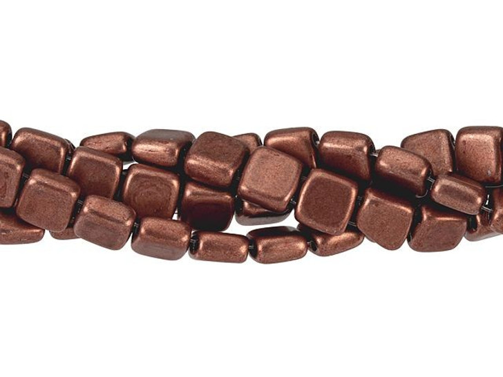 CzechMates Glass 6mm ColorTrends Saturated Metallic Grenadine Two-Hole Tile Bead Strand