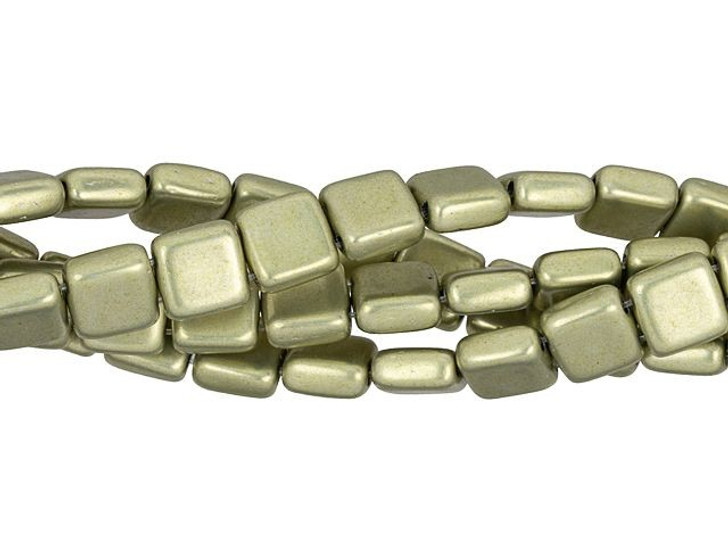 CzechMates Glass 6mm ColorTrends Saturated Metallic Limelight 2-Hole Tile Bead (50pc Strand)