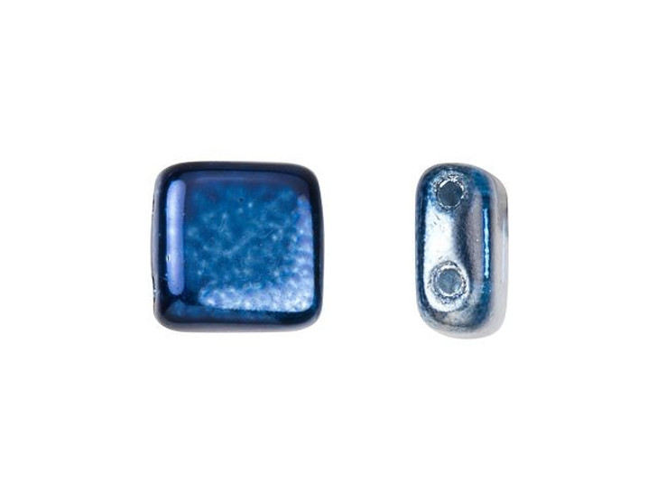 CzechMates Glass 6mm Denim Mirror Two-Hole Tile Bead