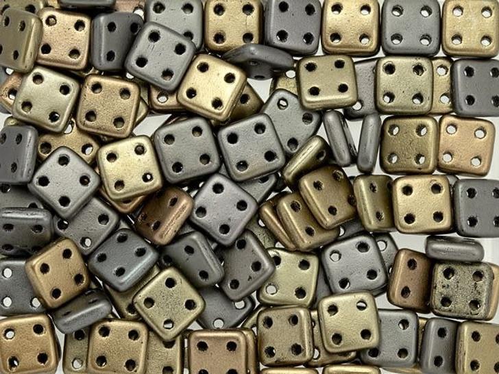 CzechMates Glass 6mm Four-Hole Matte Metallic Leather QuadraTile Bead (20 gram pack)