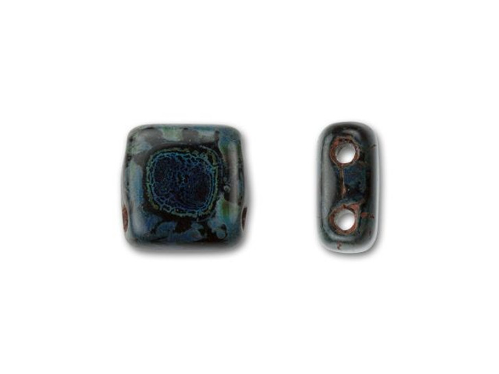 CzechMates Glass 6mm Jet with Picasso Two-Hole Tile Bead