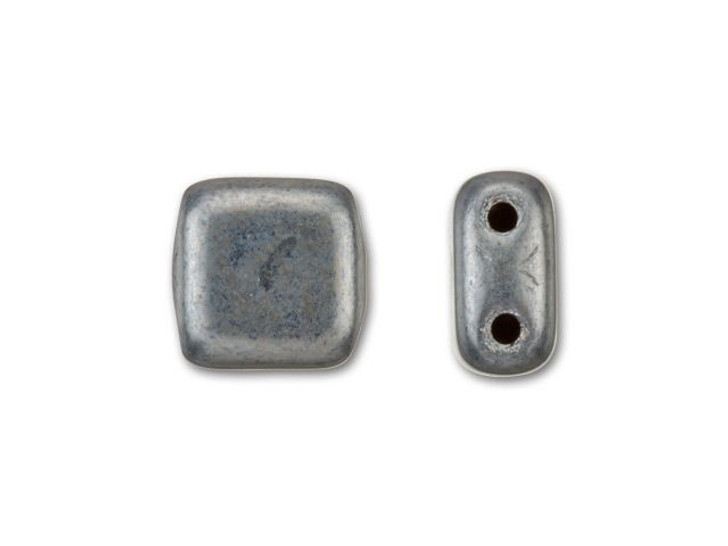 CzechMates Glass 6mm Matte Hematite Two-Hole Tile Bead