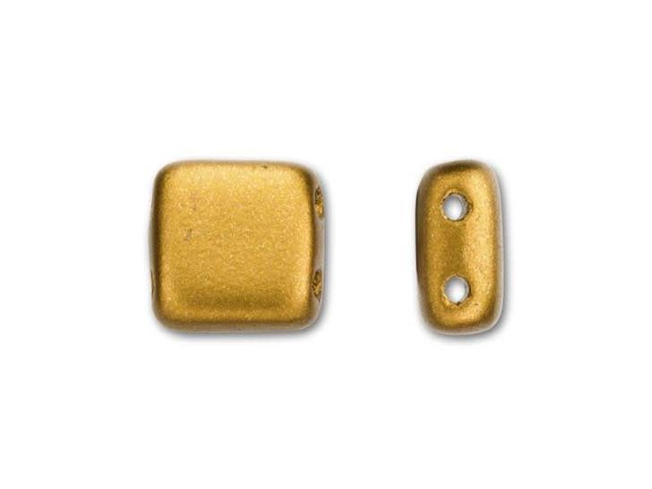 CzechMates Glass 6mm Matte Metallic Goldenrod Two-Hole Tile Bead