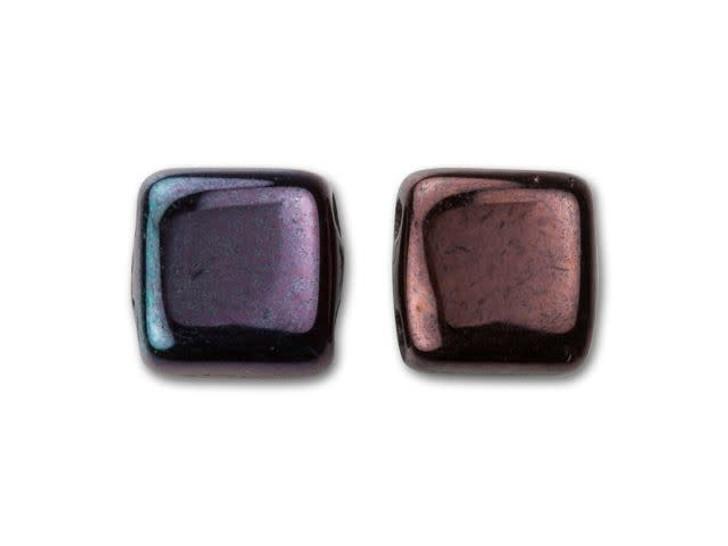 CzechMates Glass 6mm Metallic Amethyst Luster Two-Hole Tile Bead