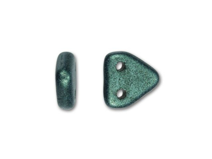 CzechMates Glass 6mm Metallic Light Green Suede Two-Hole Triangle Bead Pack, 2.5-Inch Tube