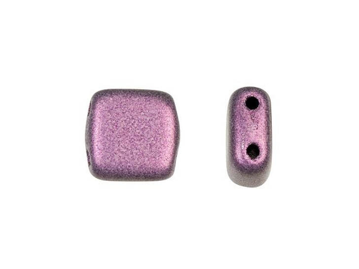CzechMates Glass 6mm Metallic Pink Suede Two-Hole Tile Bead