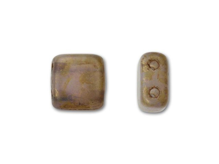CzechMates Glass 6mm Milky Alexandrite with Copper Picasso Two-Hole Tile Bead